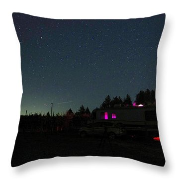 Perseid Meteor-julian Night Lights Throw Pillow