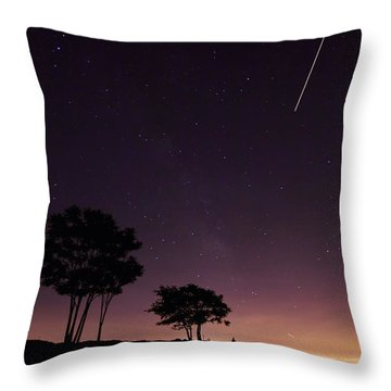 Perseids Meteor Over Sasco Hill Throw Pillow