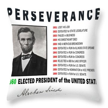 Perseverance Of Abraham Lincoln Throw Pillow by Daniel Hagerman