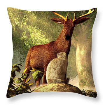 Persian Cat And Deer Throw Pillow