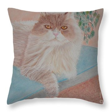 Persian Cat Throw Pillow by Cybele Chaves