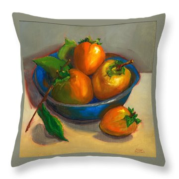 Throw Pillow featuring the painting Persimmons In Blue Bowl by Susan Thomas