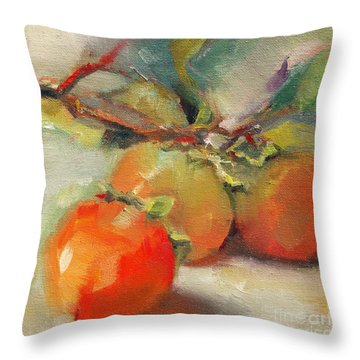 Persimmons Throw Pillow by Michelle Abrams