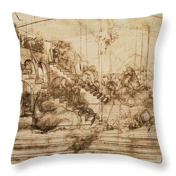 Perspective Study For The Background Of The Adoration Of The Magi Throw Pillow
