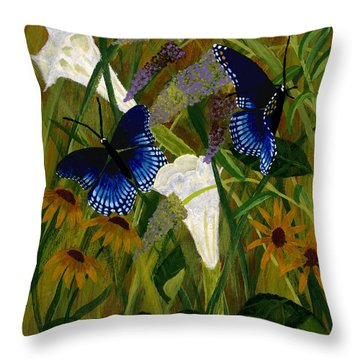 Perusing The Flowers Throw Pillow