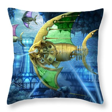 Pescatus Mechanicus Throw Pillow by Ciro Marchetti