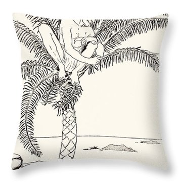Pestonjee Bomonjee Sitting In His Palm-tree And Watching The Rhinoceros Strorks Bathing Throw Pillow by Joseph Rudyard Kipling