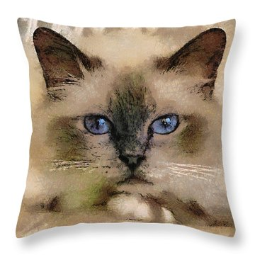 Pet Cat Throw Pillow by Georgi Dimitrov