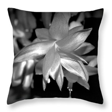 Petals Of Silver Throw Pillow