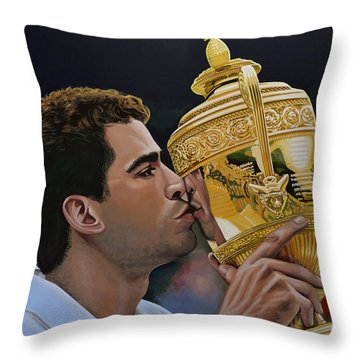 Pete Sampras Throw Pillow by Paul Meijering