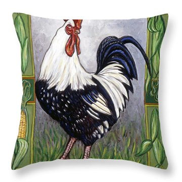 Pete The Rooster Throw Pillow by Linda Mears