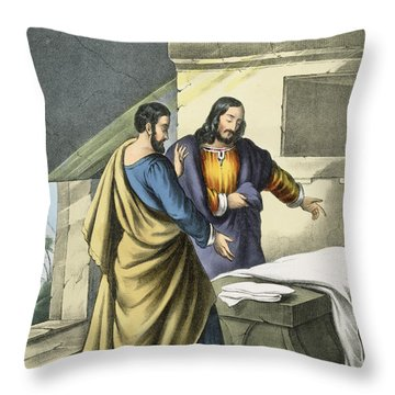 Peter And John At The Sepulchre Throw Pillow