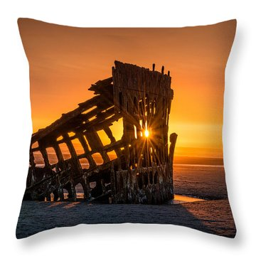 Peter Iredale Ship Throw Pillow by James Hammond
