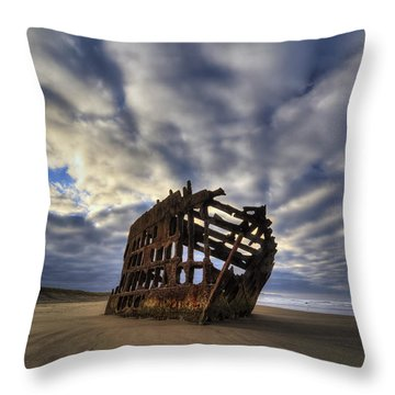 Peter Iredale Shipwreck Sunrise Throw Pillow by Mark Kiver