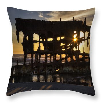 Peter Iredale Shipwreck Sunset Throw Pillow by Mark Kiver