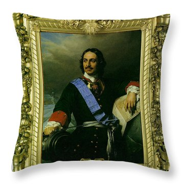 Peter The Great Of Russia Throw Pillow by Paul  Delaroche