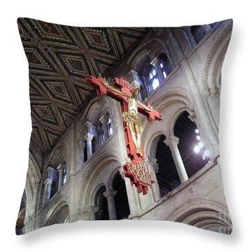 Throw Pillow featuring the photograph Peterborough Cathedral England by Jolanta Anna Karolska