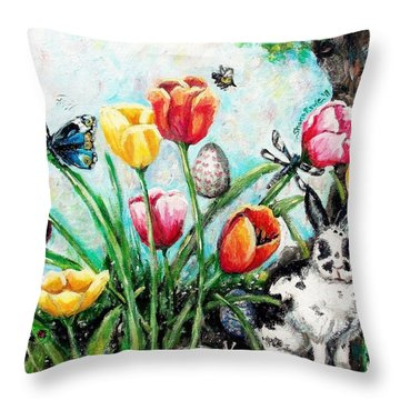 Throw Pillow featuring the painting Peters Easter Garden by Shana Rowe Jackson