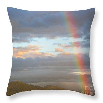 Peterson's Butte Rainbow Landscape Throw Pillow by Nick  Boren