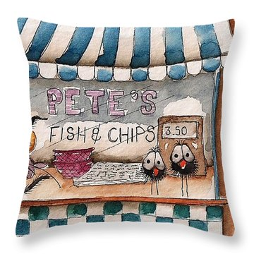 Pete's Fish And Chips Throw Pillow by Lucia Stewart
