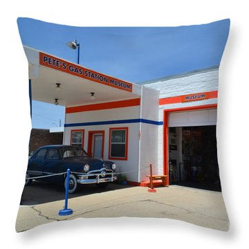 Pete's Gas Station Throw Pillow