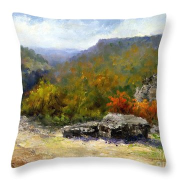 Petit Jean View From Mather Lodge Throw Pillow by Virginia Potter