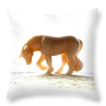 Throw Pillow featuring the photograph Petite Licorne Doree Baignee De Lumiere by Marc Philippe Joly