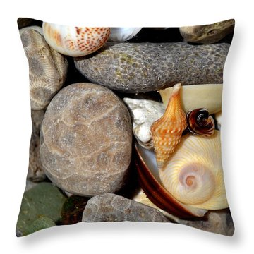 Petoskey Stones Ll Throw Pillow by Michelle Calkins