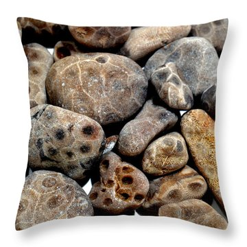 Petoskey Stones Vl Throw Pillow by Michelle Calkins