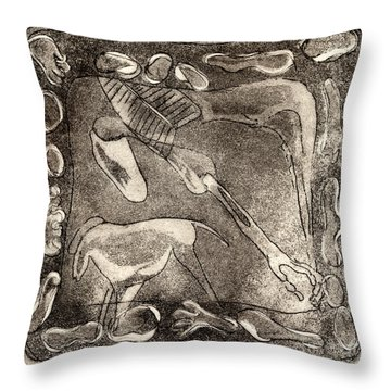Throw Pillow featuring the painting Petroglyph - Horse Takhi And Stones - Prehistoric Art - Cave Art - Rock Art - Cave Painters by Urft Valley Art