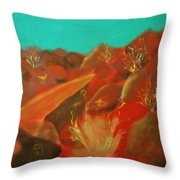 Throw Pillow featuring the painting Petroglyph Park by Keith Thue