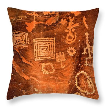 Petroglyph Symbols Throw Pillow by Phyllis Denton