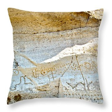 Petroglyphs At Petroglyph Point In Lava Beds Nmon-ca Throw Pillow