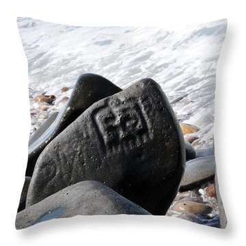 Throw Pillow featuring the photograph Petroglyphs Las Labrada by Rebecca Parker