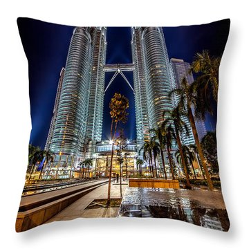 Petronas Twin Towers Throw Pillow by Adrian Evans