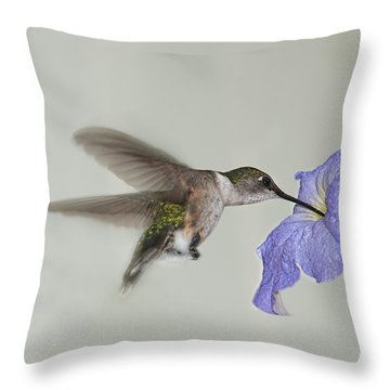 Petunia Delight Throw Pillow by Lara Ellis