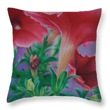 Throw Pillow featuring the painting Petunia Skies by Pamela Clements