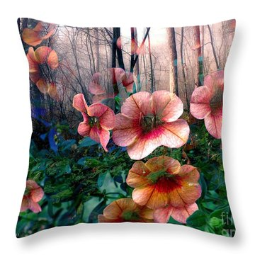 Petunias In The Forest Throw Pillow