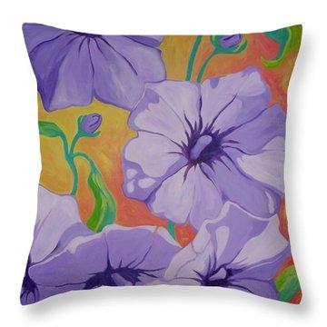 Petunias Throw Pillow by Sandra Yuen MacKay