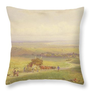 Pevensey Bay, Sussex, 1868 Wc, Bc, Graphite And Scraping On Paper Throw Pillow