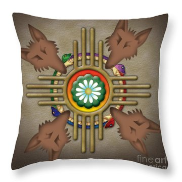 Peyote Coyote Throw Pillow by Timothy Lowry
