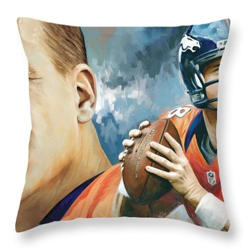 Peyton Manning Artwork Throw Pillow