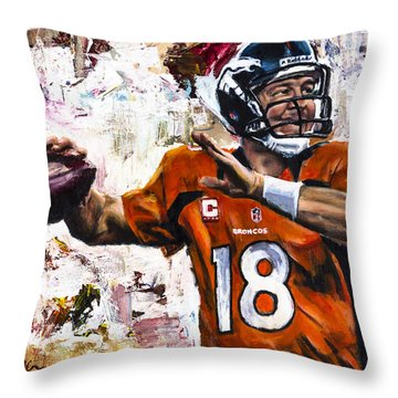 Peyton Manning Throw Pillow by Mark Courage