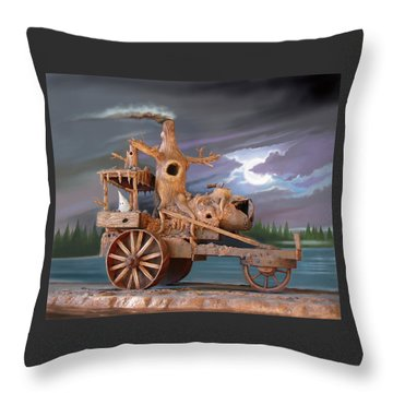 Phantom Steam Tractor Throw Pillow by Stuart Swartz
