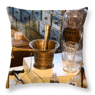 Pharmacist - Brass Mortar And Pestle Throw Pillow