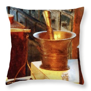 Pharmacist - Brass Mortar And Pestle Throw Pillow by Susan Savad