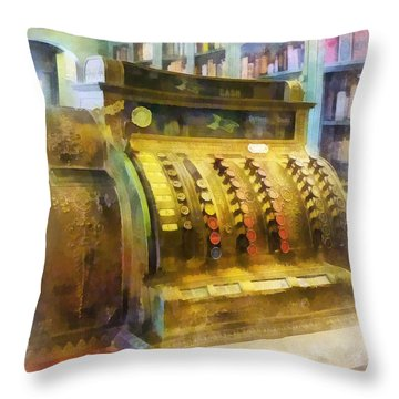 Pharmacist - Cash Register In Pharmacy Throw Pillow by Susan Savad