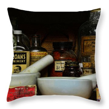 Pharmacist - Cod Liver Oil And More Throw Pillow by Paul Ward