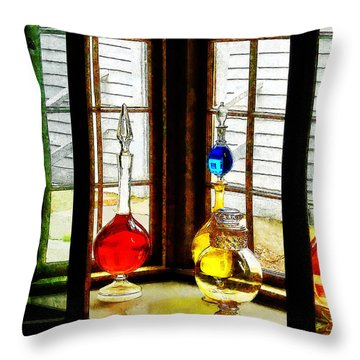 Pharmacist - Colorful Bottles In Drug Store Window Throw Pillow by Susan Savad