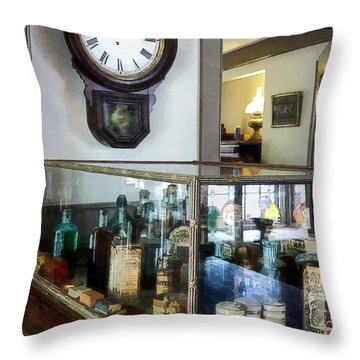 Throw Pillow featuring the photograph Pharmacist - Corner Drug Store by Susan Savad